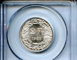 1922 B 2Fr Switzerland MS66 PCGS