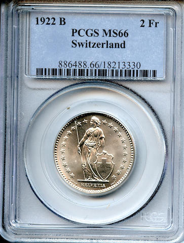 Switzerland, 1922 B 2 Francs MS66 PCGS