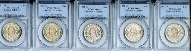 1921 W 2Kr Sweden P. Liberty MS64 PCGS (5)