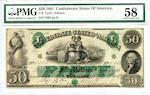 1861 $50 Confederate States of America T-6 Tyler Elmore PMG58