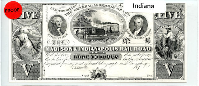 1840s $5 Madison & Indianapolis Railroad Company Proof
