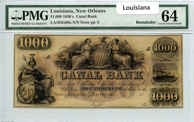 New Orleans, LA, The Canal Bank $1,000 (1850s) PMG 64