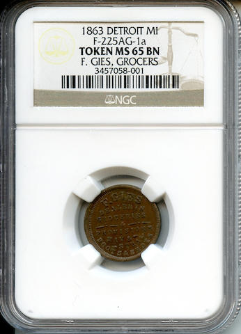 1863 Detroit MI F-225AG-1a Token MS65 BN F. Gies, Grocers NGC