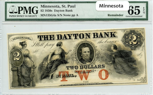 Saint Paul, MN, The Dayton Bank $2 (1850s) PMG 65 EPQ