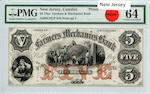 1800s $5 Farmers & Mechanics Bank New Jersey, Camden Proof PMG64