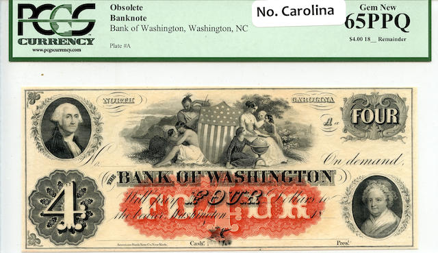 1800s $4 Bank of Washington, NC Obsolete Banknote PCGS65PPQ