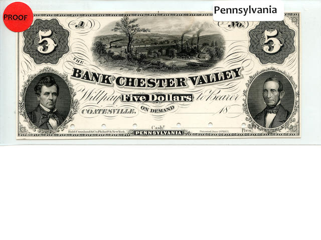 1857 $5 Bank of Chester Valley Proof