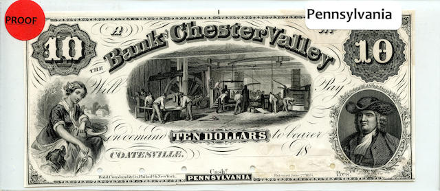 1857 $10 Bank of Chester Valley Proof