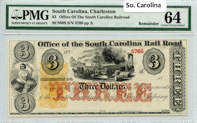 1800s $3 Office of The South Carolina Railroad PMG64