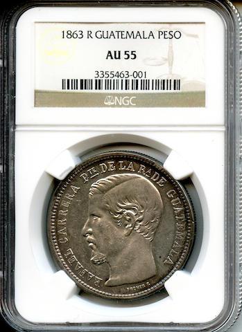 Guatemala, 1863 R Peso AU55 NGC