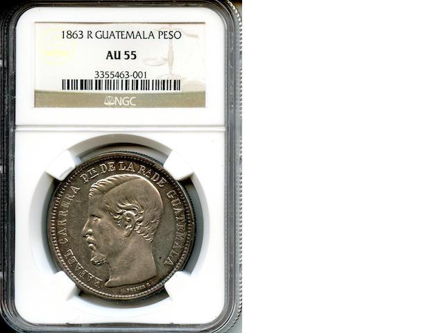 1863 R Guatemala Peso AU55 NGC