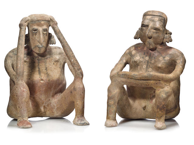 Large Jalisco Seated Couple,<BR />Protoclassic, ca 100 B.C. - A.D. 250