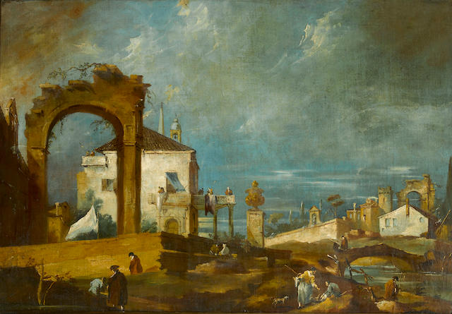 Follower of Francesco Guardi  SENDING TO BK A capriccio with ruins and figures 25 3/4 x 37 1/2in (65.4 x 95.3cm)