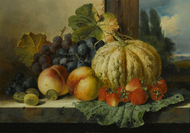 Edward Ladell (British, 1821-1886) A still life with fruit on a window ledge 12 x 17in (30.5 x 43.2cm)