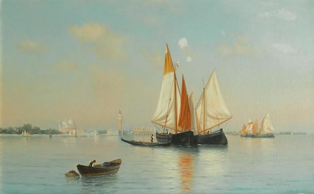 Warren W. Sheppard (American, 1858-1937) The Bacino di San Marco 17 1/4 x 27in (43.7 x 68.6cm)