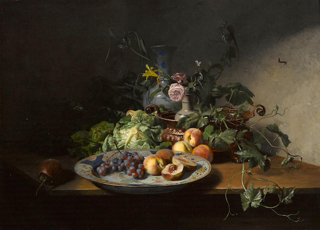 David Emile Joseph de Noter (Belgian, 1825-1892) A still life of fruit and vegetables with an Imari dish, copper bowl and other porcelain 16 x 22 1/2in (40.6 x 57.2cm)