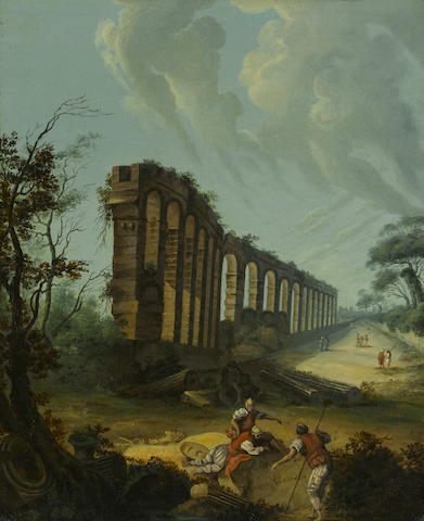 Dutch School, 18th Century  SENDING TO BK A view of the ruins of Aqua Claudia, Rome with figures in the foreground 15 1/4 x 12 1/2in (38.7 x 31.8cm)