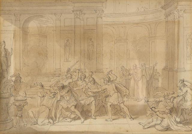 Follower of Jan Luyken (Amsterdam 1649-1712) Soldiers murdering a priest in a temple 7 1/2 x 10in
