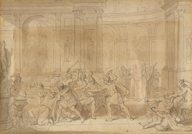 Follower of Jan Luyken (1649-1712) SENDING TO CRISPIAN Soldiers murdering a priest in a temple 7 1/2 x 10in (19 x 25.4cm)
