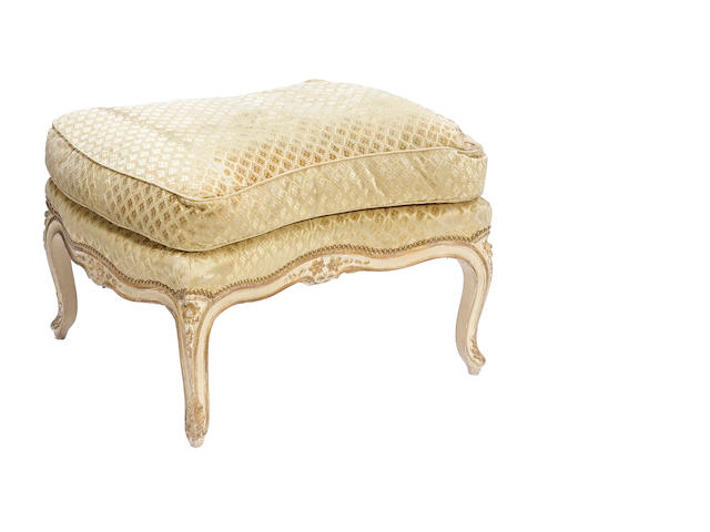 A Louis XV style paint decorated and parcel gilt tabouret