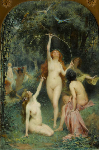 Henri Adrien Tanoux (French, 1865-1923) Nymphs in a forest 28 3/4 x 19in (73 x 48.2cm)
