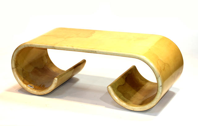 A contemporary lacquered goatskin coffee table