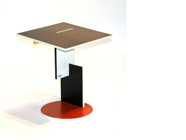 A contemporary polychrome multi-tiered table