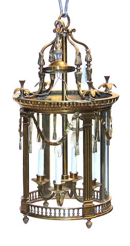 A Louis XVI style gilt  brass four light lantern 20th century