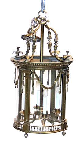 A Louis XVI style gilt brass four light lantern 20th century