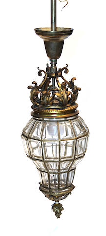 A Louis XV style gilt bronze and glass lantern early 20th century