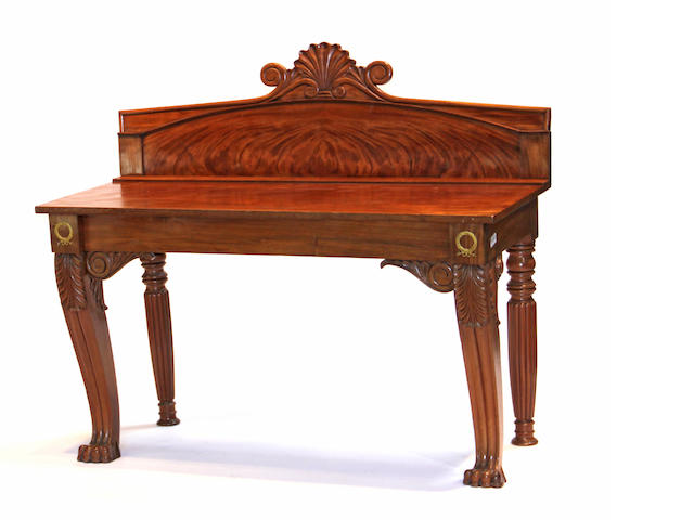 A Neoclassical style gilt bronze mounted mahogany serving console table 19th century