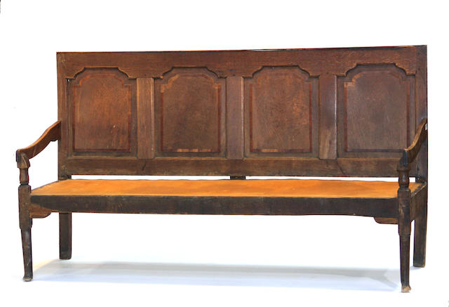 An English Baroque oak bench