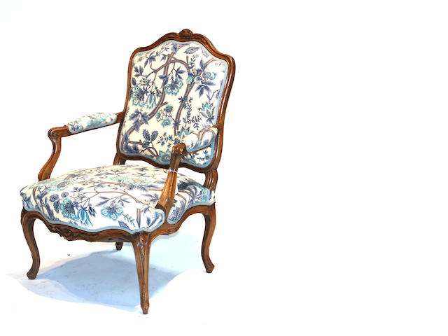 A Louis XV walnut fauteuil a la reine 18th century