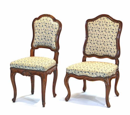 Two Louis XV walnut chaises 18th century