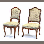 Two Louis XV walnut chaises 18th century