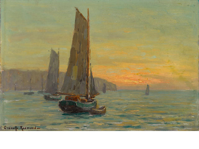 Granville Redmond (American, 1871-1935) Sailboats at sunset  9 x 13in