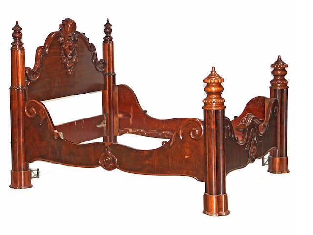 A Rococo Revival  mahogany bed mid 19th century