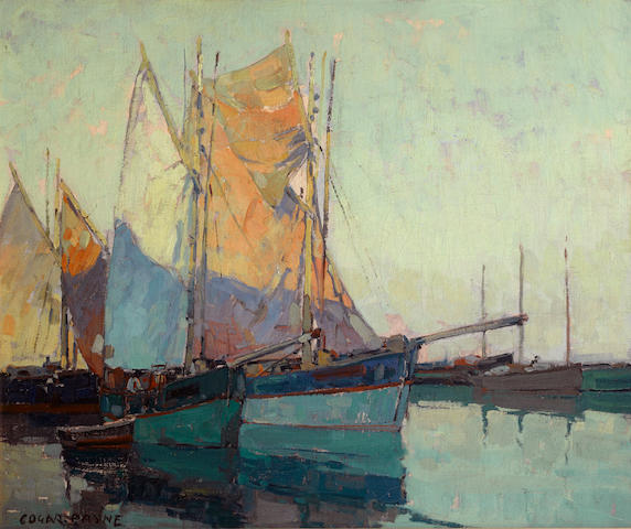 Edgar Payne (1883-1947) Sailboats at anchor 25 1/4 x 30 1/4in
