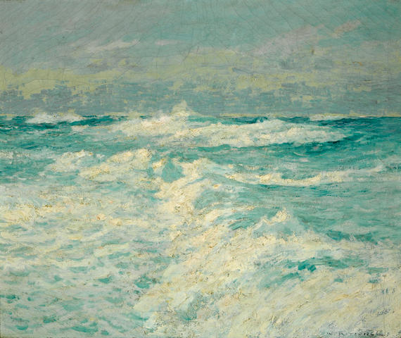 William Frederick Ritschel (American, 1864-1949) Waves breaking in the sunlight 25 x 30 1/4in