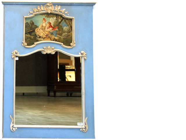 A Louis XVI style blue and white painted trumeau mirror