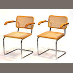 A set of thirteen Marcel Breuer chromed metal and caned wood Cesca chairs designed 1928, produced later