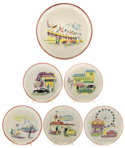 A set of 6, Porsche 356 decorative plates, c.60,
