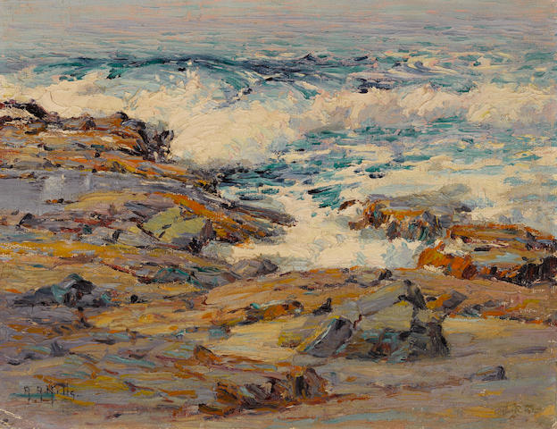 Anna Althea Hills (American, 1882-1930) The dancing sea, Mussel Rocks, Laguna Beach, 1923 14 x 18in unframed