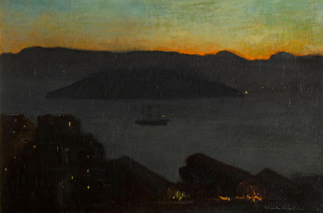 Charles Rollo Peters (American, 1862-1928) Dawn on San Francisco Bay 16 x 24in