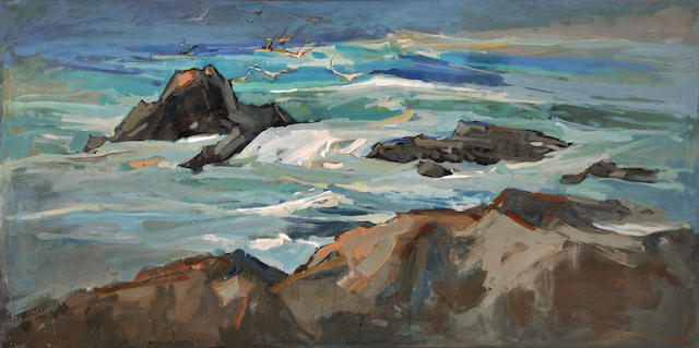 Si Chen Yuan (1911-1974) Coastal rocks with gulls hovering 54 x 97 1/2in overall: 55 1/2 x 99in