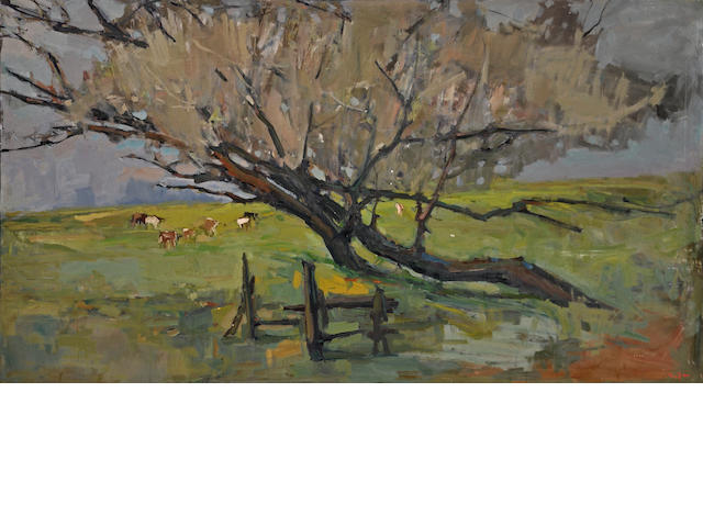 Si Chen Yuan (1911-1974) Cattle and trees in a green pasture 54 x 97 1/2in overall: 55 1/2 x 99in
