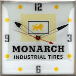 An illuminated 'MonarchTires' clock, c.50s,