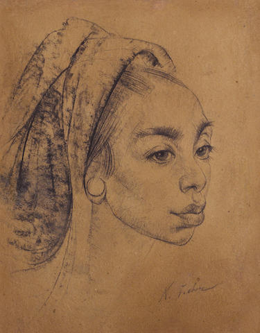 Nikolai Fechin (Russian, 1881-1955) Balinese beauty sight: 16 1/4 x 12 3/4in