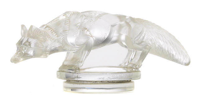 An extremely rare 'Renard' glass mascot by René Lalique, French, 1930,