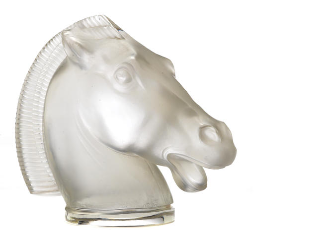 A fine double main 'Longchamp' glass mascot by René Lalique, French, 1929,